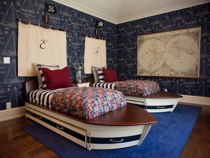 Nautical Bedroom With Sailboat Wallpaper And Boat Bed Frames For Kids