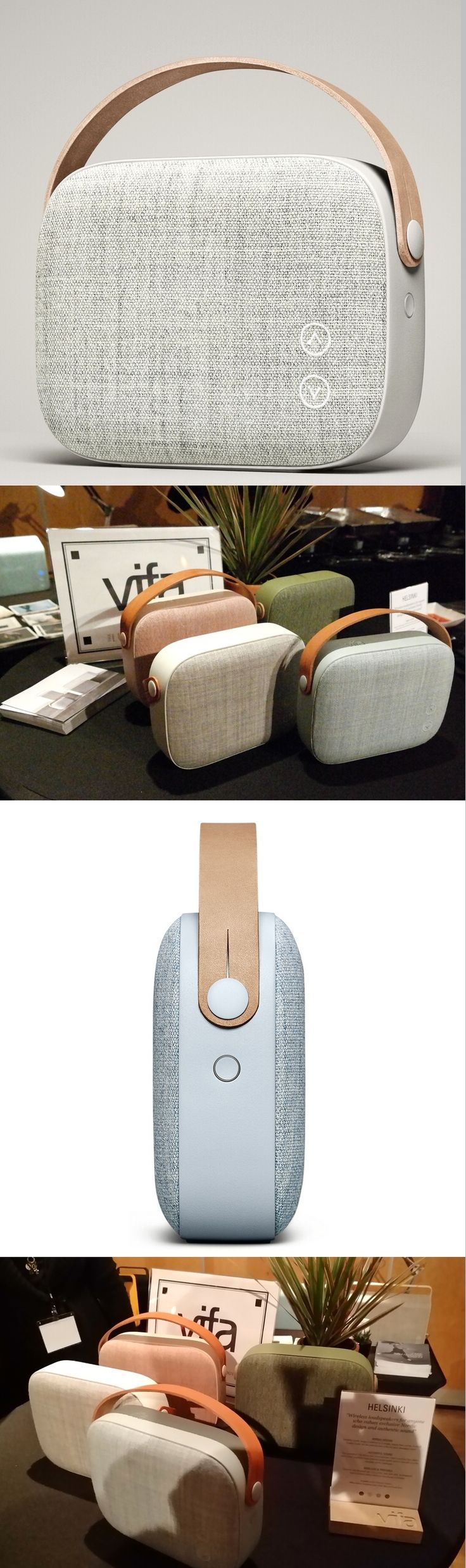Vifa's Helsinki portable Bluetooth wireless speakers: High-def audio with Nordic style. The $379 unit has acoustically transparent wool covers by @kvadrattextiles of Denmark, @vifadk's home, and a leather strap by Sweden's @tarnsjogarveri. A solid aluminum frame, two 50mm drivers and two 60mm woofers offer clear highs and solid bass, said Vifa. The 3-pound unit, seen at the Luxury Technology Show in NYC, comes in dusty rose, misty blue, sandstone grey and willow green. CLICK THE PIC…
