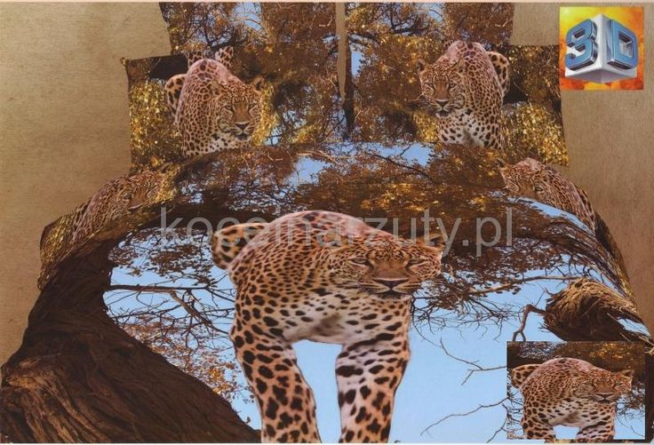Pościel bawełniana niebieska na łóżko z gepardem