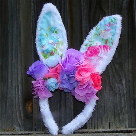 Bunny in the garden flower crowns, Easter headbands, Rabbit ears