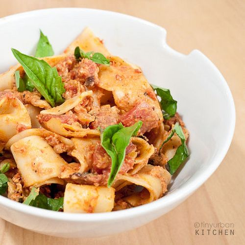 Pasta with Tomato Vodka Cream Sauce http://www.tinyurbankitchen.com ...