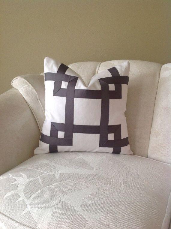 Pewter and White Ribbon Embellished Pillow by FeniasHomeDecor, $75.00