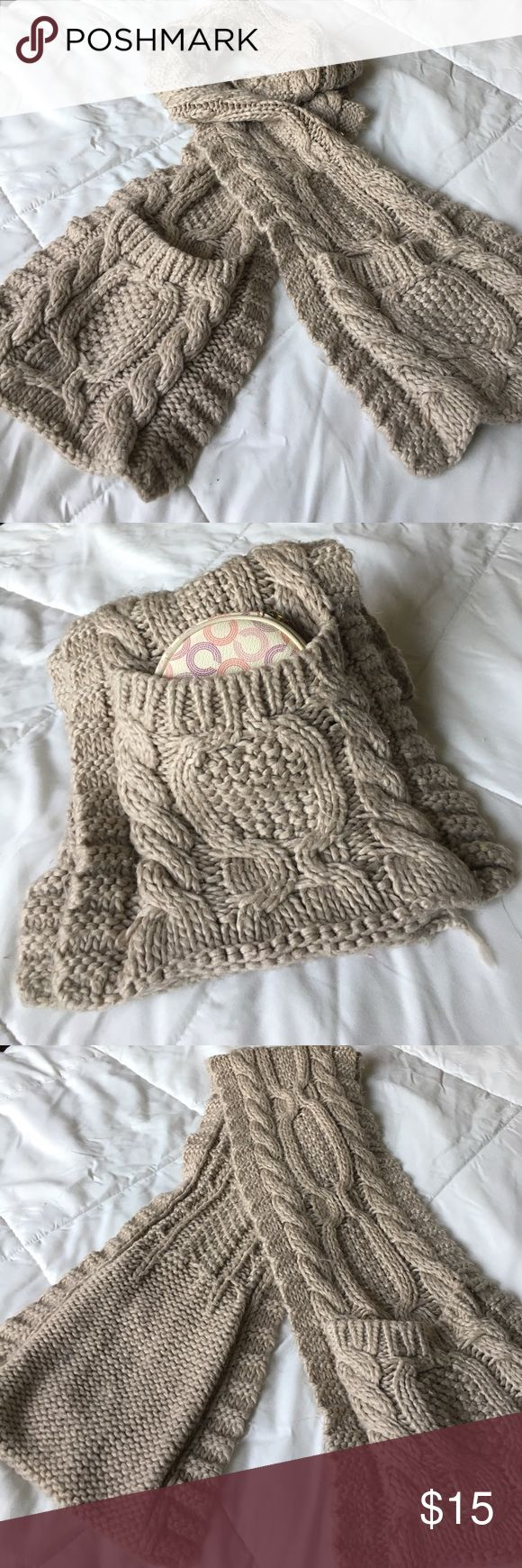 Nude knitted scarf Cute! Knitted nude scarf super warm for the cold weather! In good condition has pockets at the end for your cellphone, small wallet, coin purse, keys! Also have it in Navy blue.... offers welcome Forever 21 Accessories Scarves & Wraps