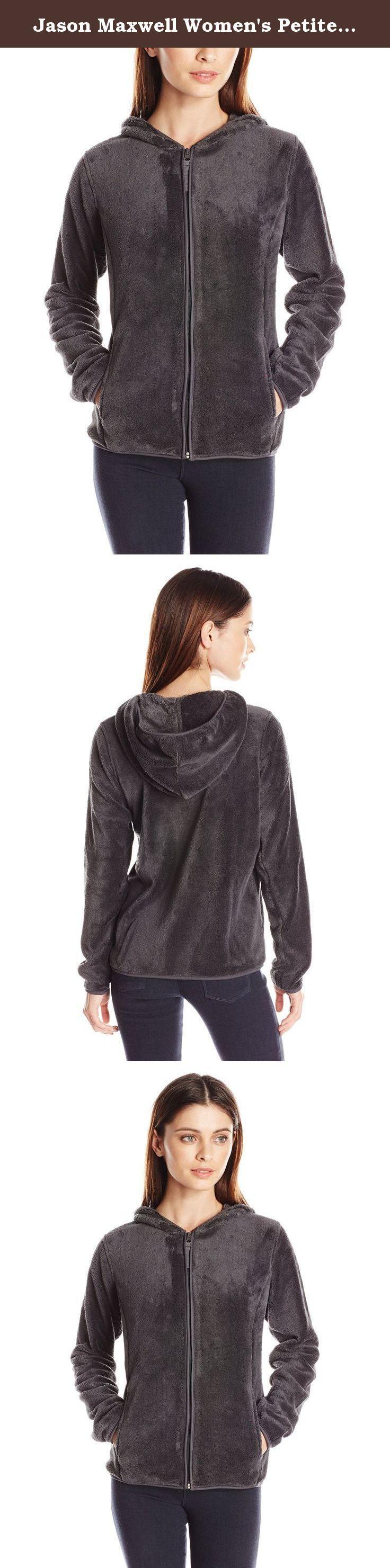 Jason Maxwell Women's Petite Full Zip Hooded Fleece Jacket, Charcoal, Petite/Small. Full zip hoodie fleece jacket with princess seams.