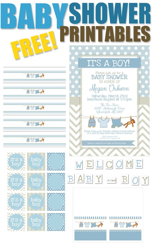 Boy Baby Shower Free Printables Shower Pinterest Baby Shower