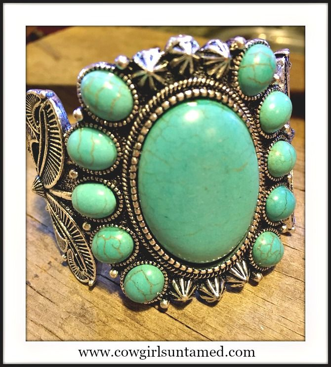 GORGEOUS CUFF!! Antique Silver and Large Faux Turquoise Stone Western Cuff  www.cowgirlsuntamed.com #cuff #jewelry #bracelet #turquoise #antiquesilver #stone #western #cowgirl #southwestern #boutique #fashion #beautiful #onlineshopping #gift #rodeo #horse
