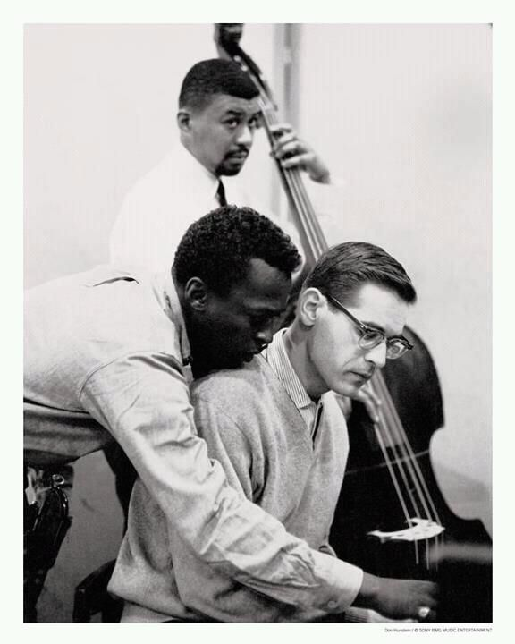 """Miles Davis, Bill Evans & Paul Chambers - Epic photo taken during the recording sessions of Miles Davis """"Kind of Blue""""."""