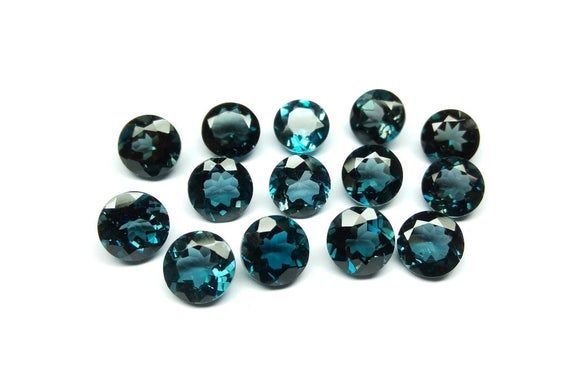AAA Quality Natural London Blue Topaz Round Loose Faceted Cut Gemstone