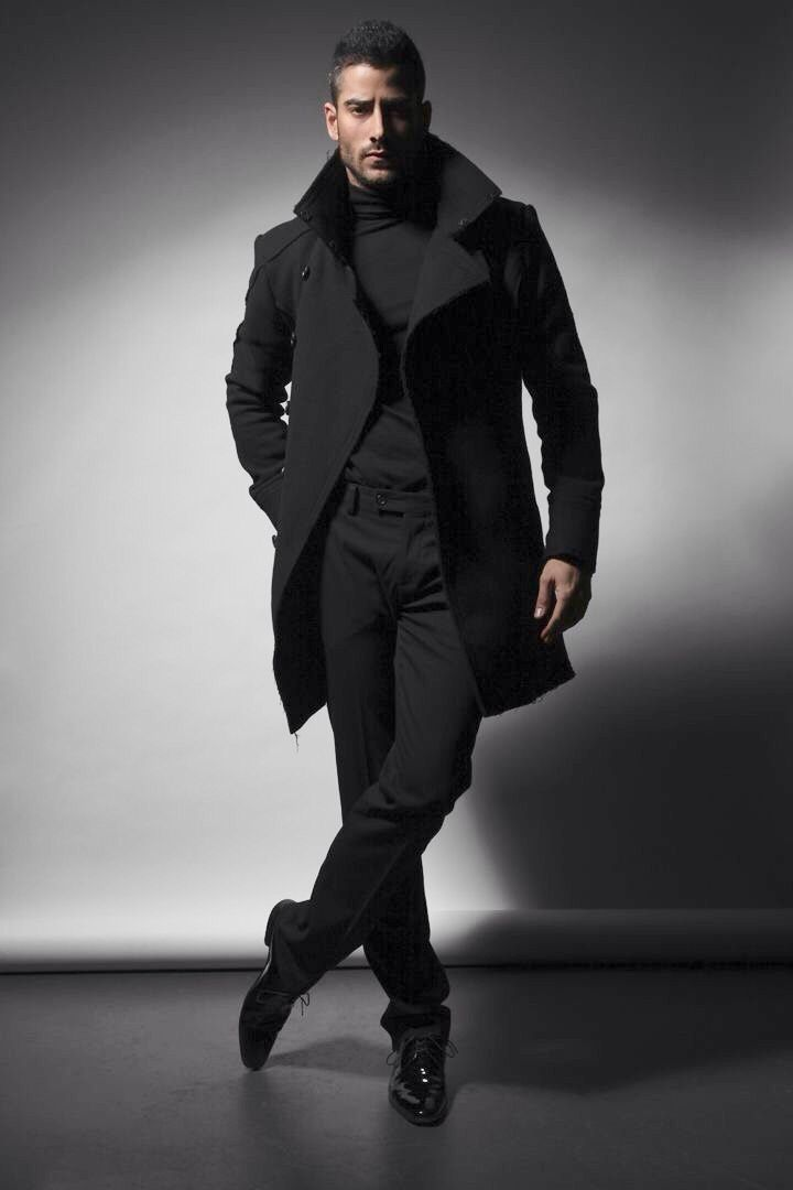 All Black Urban Style Overcoat Turtleneck Jeans And