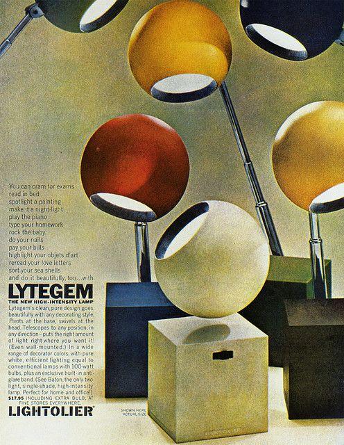 "1965 Magazine Advertisement  ""Lytegem: the new high-intensity lamp""  Lightolier  USA"