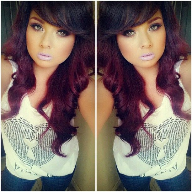 dark brown and violet red hair color #loreal