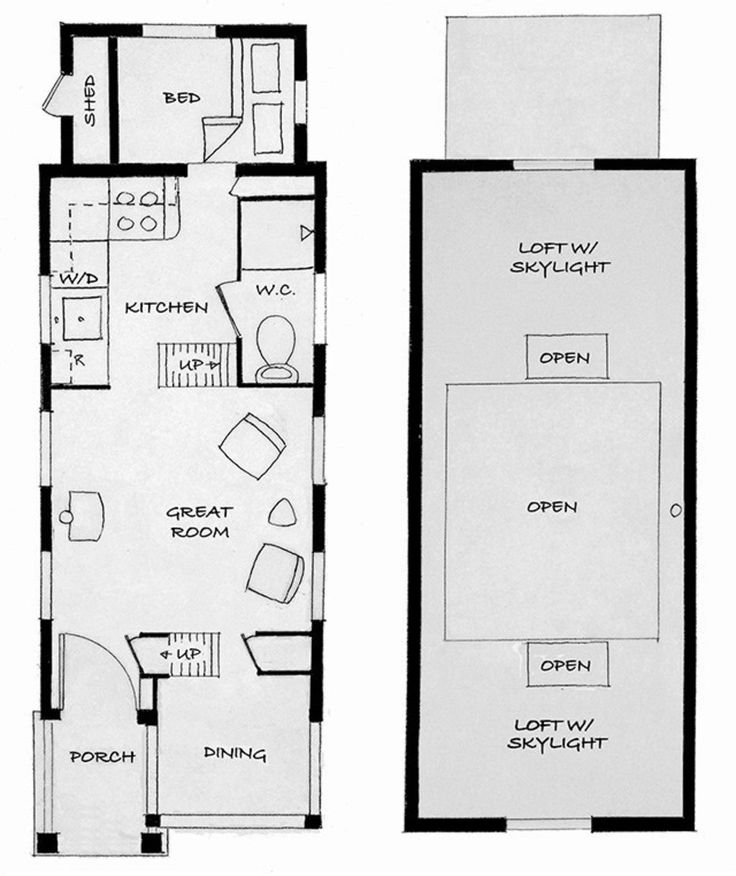 Tiny house floor plans no loft for Tiny house trailer floor plans