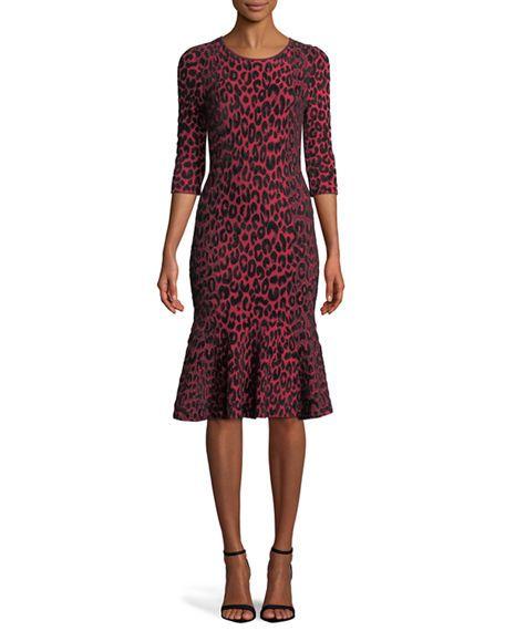 cb233216d3e19 Textured Leopard Animal-Print Mermaid Midi Dress in 2018