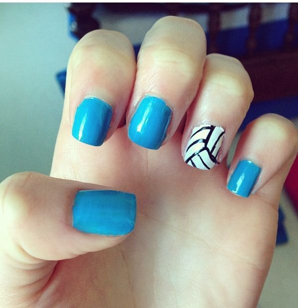 Volleyball Nailsonly With Red Instead Colorful Nbsp Photooftheday Cute Nbsp Picoftheday Beautiful Nbsp Volleyball Nails Sports Nails Volleyball Nail Art