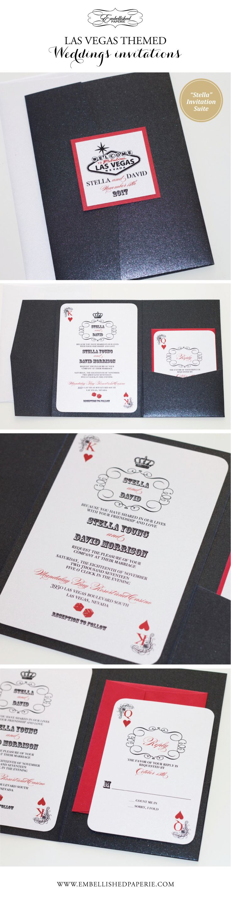 Las Vegas Wedding Invitation - Perfect for a Las Vegas Wedding or Casino Themed Party.  Colors can be customized.  Black Metallic Pocket folder - Playing card style Invitation and RSVP Cards printed on White metallic in Red and Black.  www.embellishedpaperie.com