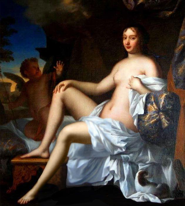 Francoise d'Aubigne, later the marquise de Maintenon and wife to Louis XIV, 1663-64 by her then lover, the Louis de Mornay  (marquis de Villarceaux (1619-1691)