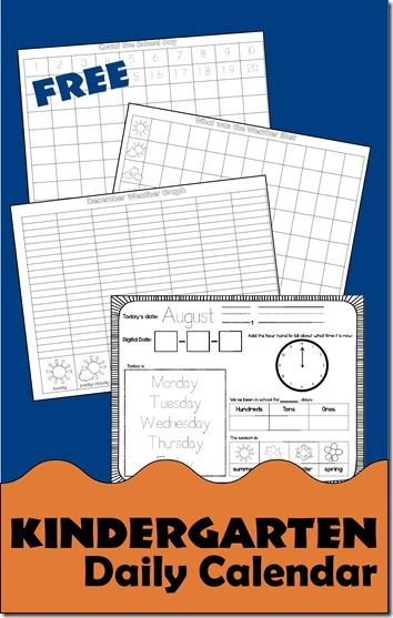 FREE Daily Kindergarten Calendar For Daily Use