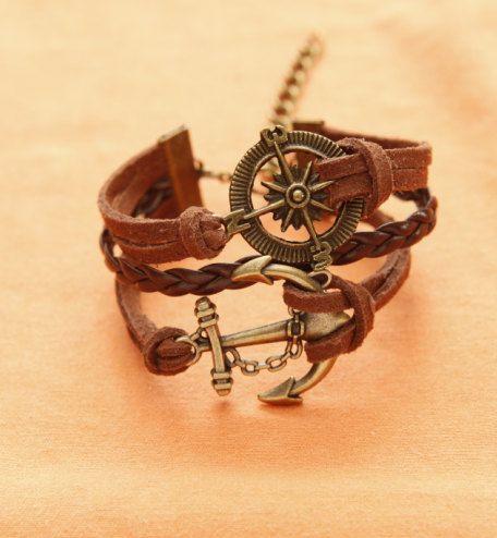 Compass Bracelet, Anchor Bracelet, Charm Bracelet, Brown Bracelet, Brown Braided leather Bracelet, Best gift. $4.93, via Etsy.