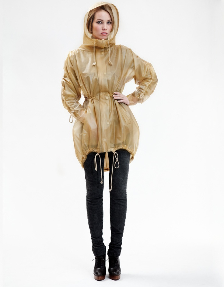 Terra New York Parka - been wanting this ever since it was featured in Vogue: Groovi Rain, Lower East Side, York Rain, Design Raincoat, Terranc Raincoat, Finding Design, Nude Raincoat, Bike Helmets, Rain Parkas