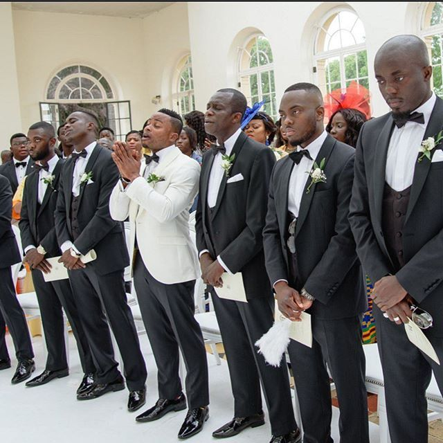 Mr Matthews looking a little pensive and his groomsmen. The groom had a made to measure white dinner jacket and black trousers from our Billericay store. The rest of the party wore our slim fit shawl Collar dinner suit.