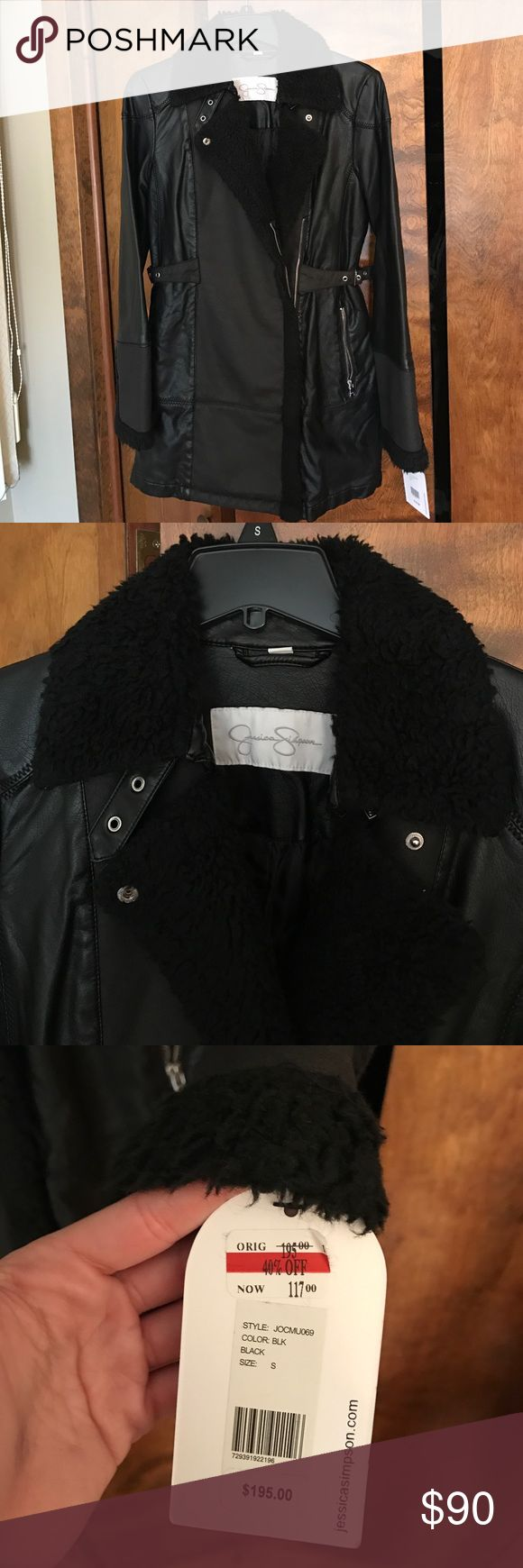 🆕 Jessica Simpson Coat Leather Jessica Simpson jacket, new with tags, size small, comes to a little above knee length (see pic). Make an offer! Jessica Simpson Jackets & Coats