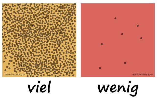 viel - wenig - Adjektive - Deutsch Adjektive - deutsche Adjektive - Adjektive Deutsch - Adjektive Übungen - Adjektive Bilder