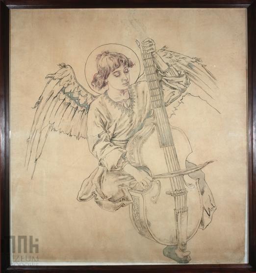 Karton do polichromii Kościoła Mariackiego - Postać anioła grającego na instrumencie