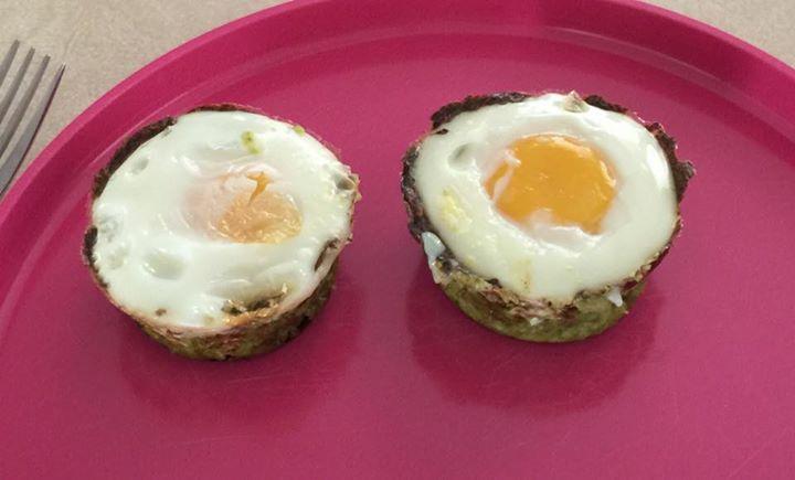 Spinach-Cauli Cup Eggs - cauliflower, spinach, mozzarella cheese (might sub another cheese), pink salt & pepper, eggs