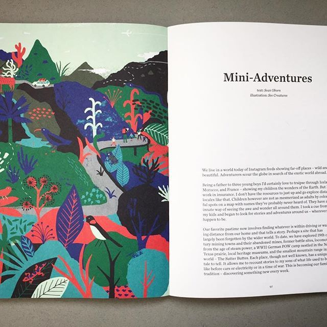 """So excited to see this in print .... My illustrations accompanying 'mini-adventures"""" by @o_sean in the new issue of @hello_fathers  #illustration #travel #fathersquarterly #editorial #design #seecreatures"""