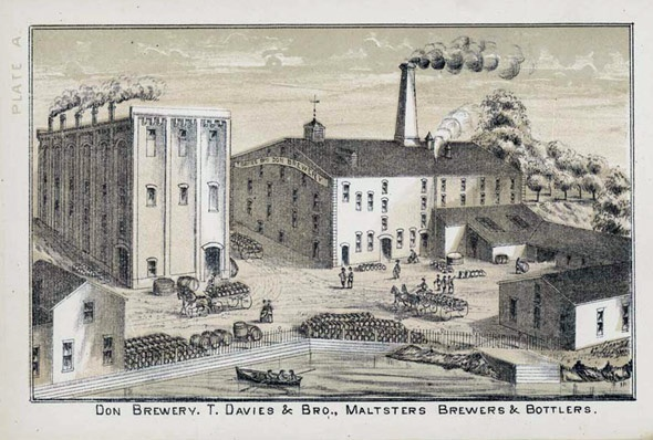 Toronto's Don Brewery, circa 1849. Built on the Don River, naturally! It's uh, condos now.