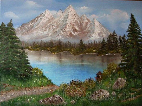 Горное озеро Картина маслом на холсте, горный пейзаж - прекрасный подарок близким, друзьям, коллегам по работе. Снежные вершины гор- прекрасное украшение любого помещение. Если первое, что Вы видите утром - чистое голубое небо, нежно-розовые вершины гор и чистейшее горное озеро, день непременно будет удачным!