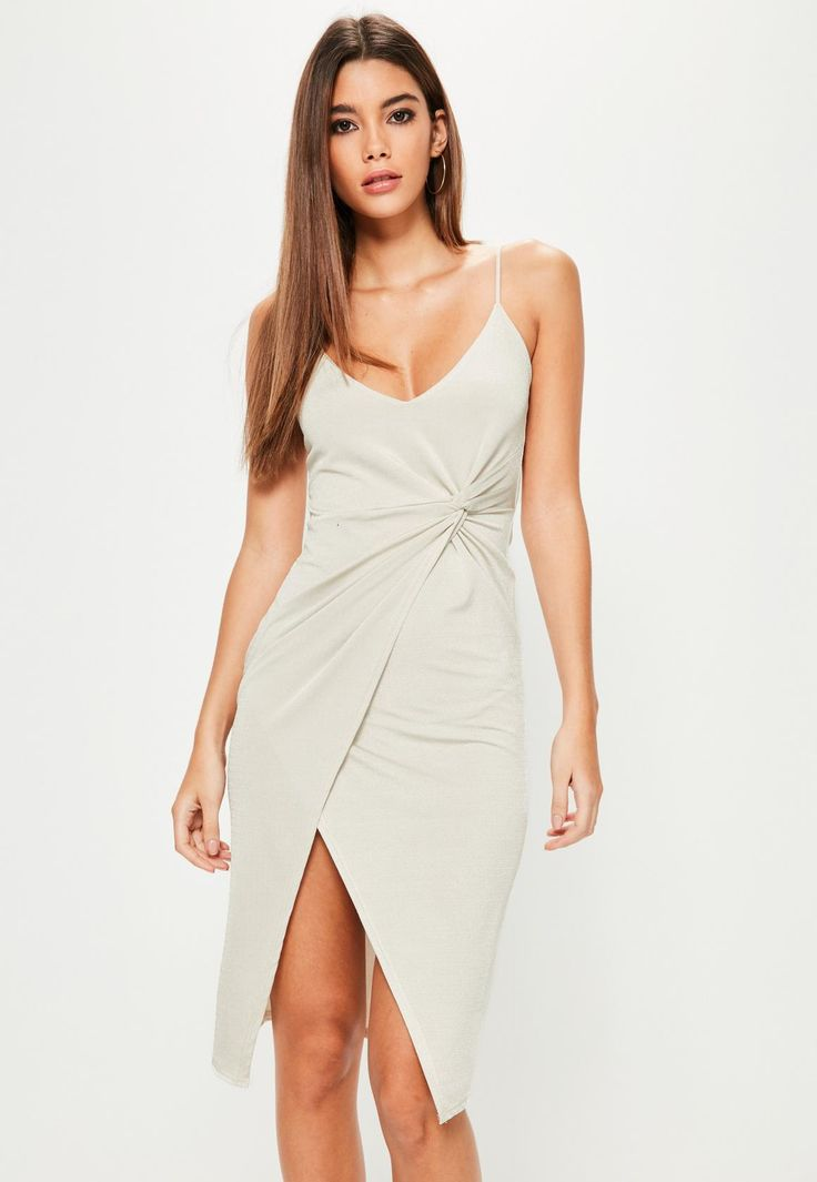 Missguided - Grey Ruched Side Wrap Midi Dress