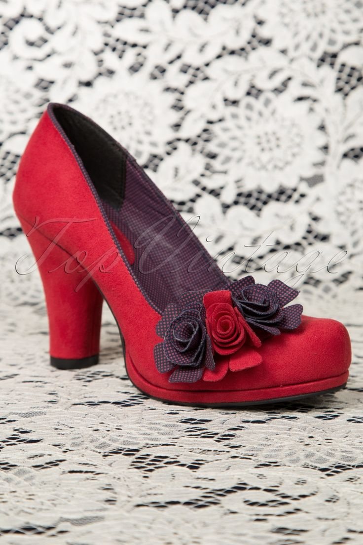 Ruby Shoo - 50s Eva Pumps in Red and Navy