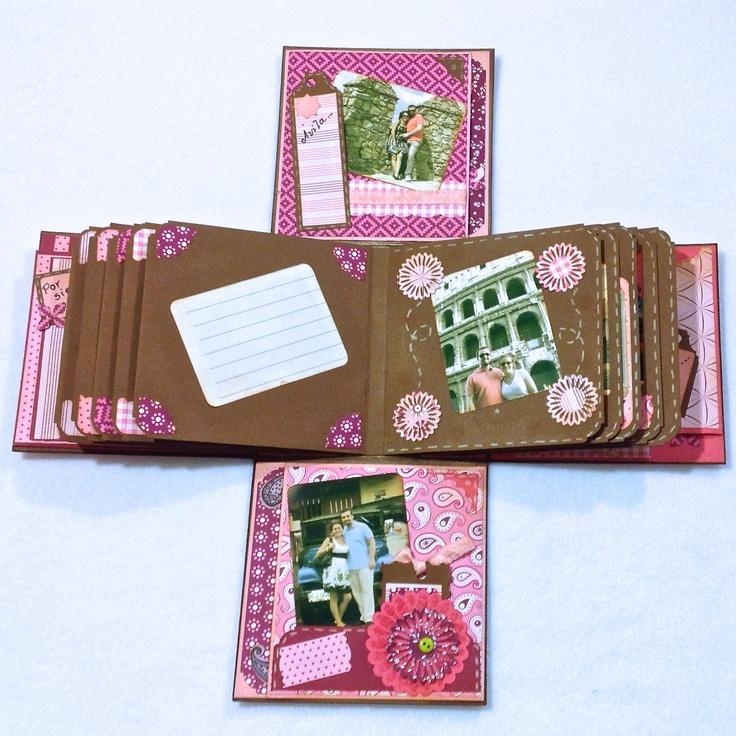 Caja abierta con vista de p ginas interiores scrapbook - Manualidades con cajas de madera ...