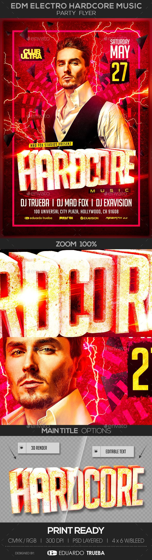 EDM Electro Hardcore #Music Party #Flyer - Clubs & Parties #Events Download here:  https://graphicriver.net/item/edm-electro-hardcore-music-party-flyer/19533874?ref=alena994