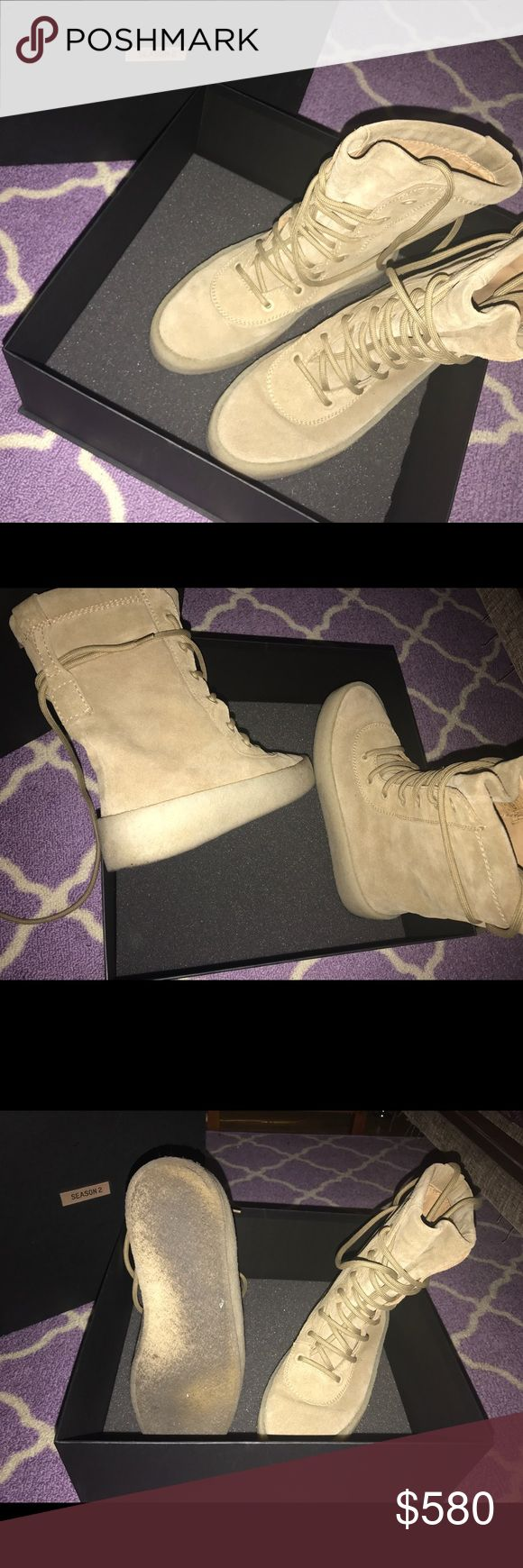 Yeezy Season 2 Crepe Boots Authentic Pre-loved Boots! Worn 3 times, signs of wear can only be seen on bottom of boots as seen in pictures. Other than that, boots are free from scuffs, comes in original box and dustbag. These are a size 9 in women's. Yeezy Shoes Combat & Moto Boots