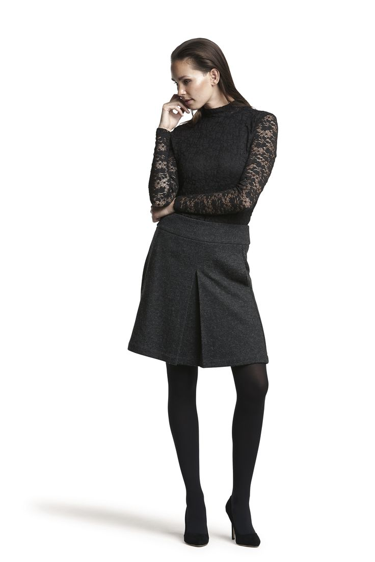 Gabriella lace top and Graduate wool skirt #darkgrey #black  #fashion #elegant #wool #lace #AW15