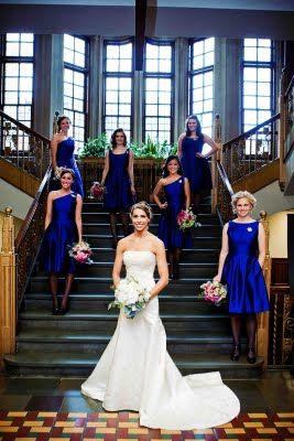Identical color but different styles for bridesmaids. Alfred Sung Bridesmaids dresses in electric blue shop joielle: Real Weddings: More Mix and Match Alfred Sung
