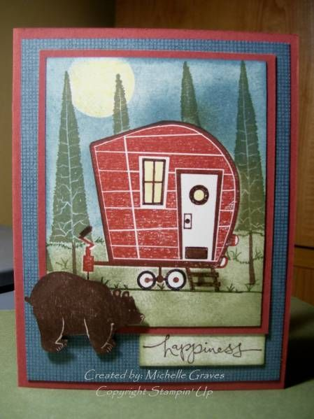 Camping Trailer with Visiting Bear Card