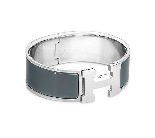 """Clic-Clac H Hermes wide bracelet Slate grey enamel<br /><br />Silver and palladium plated hardware, 2.5"""" diameter, 7.5"""" circumference, 0.5"""" wide.<br />"""