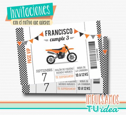 d4d6077d026 Cumple moto cross - Invitación moto cross para imprimir