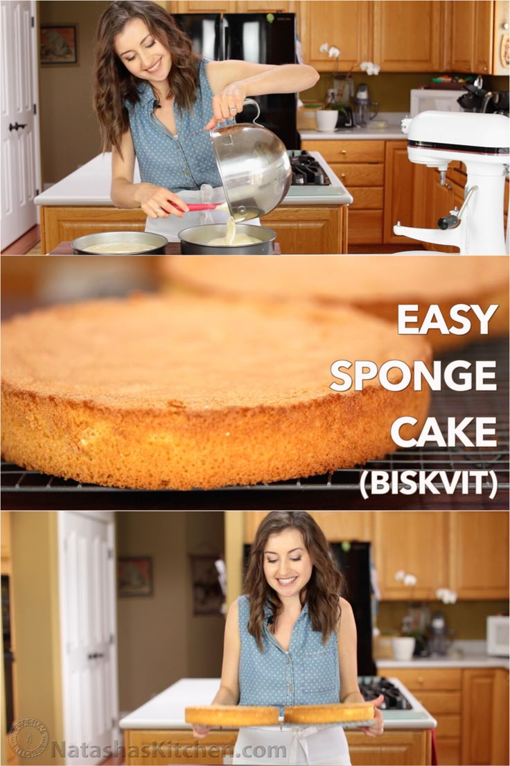 How to make a sponge cake. It's easy and you can make hundreds of different cakes with this base. Classic 4-ingredient European sponge cake (Genoise recipe)