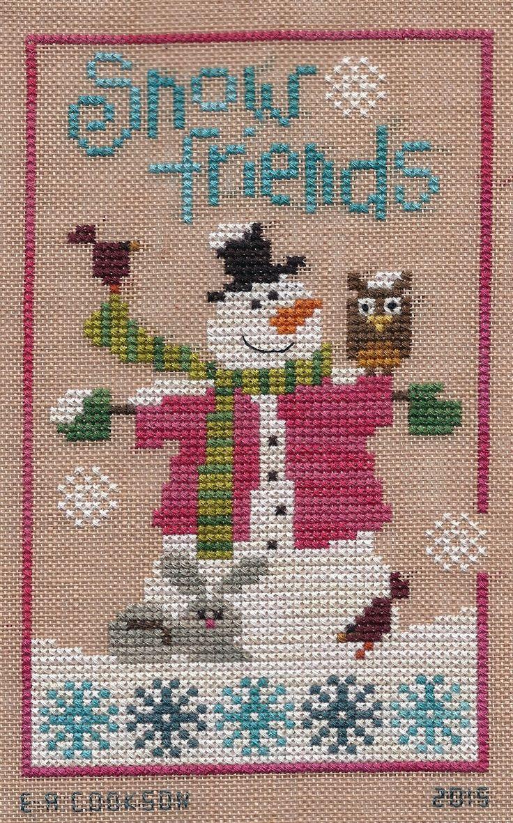 "Design - Six Fat Men - ""Snow Friends""   Designer - Lizzie Kate   Fabric - WDW & Crescent Colors -28 count Amber linen   Fibers - 2 stran..."