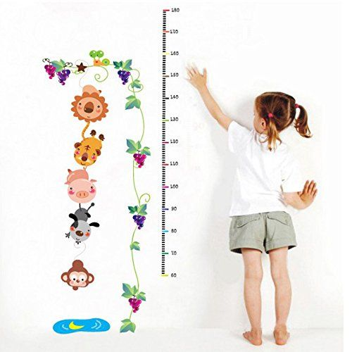 COFFLED Height Measurement Wall Decal StickersColorful Growth Chart With Lovely Animals Wall Decoration for Kids * To view further for this item, visit the image link.