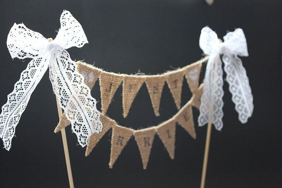 Just Married Wedding cake topper - burlap flags, hand stencilled letters with lace bows, customisable