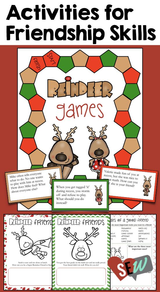 6 kid-friendly activities focused on developing the relationship skills to be a good friend, resolve conflicts, and understand other people's perspectives. Reindeer Christmas themed. Social Emotional Workshop