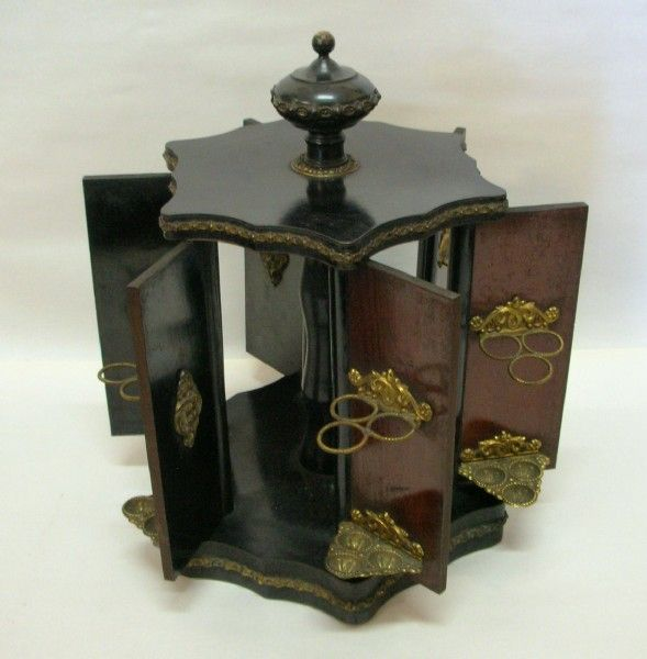 Victorian Mahogany Ebonized Cigar Humidifier With Pressed Brass Edging, Motifs And Cigar Holders   c.1870