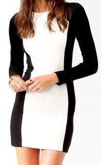 Black White Round Neck Long Sleeve Zipper Dress