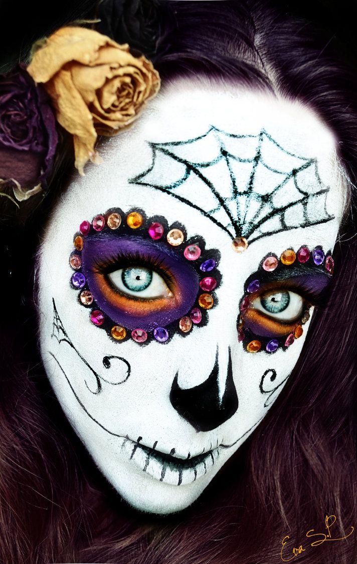 sugar skull white halloween makeup