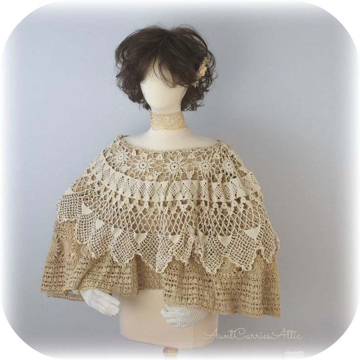 Bridal Cape Festival Poncho Crochet Cape Victorian Shawl Gypsy Shawl Hippie Poncho made from Vintage by auntcarriesattic on Etsy